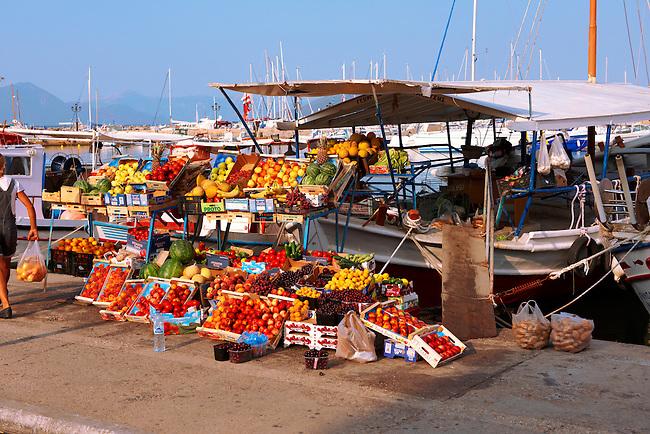 Harbour side fruit stall, Aegina port, Greek Saronic Islands.