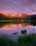 Rocky Mountain National Park, CO:  Dawn reflections of Otis Peak, Hallet Peak and Flattop Mountain from Sprague Lake