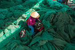 A group of workers sift through a sea of blue nets to find and repair small tears.  After using sewing machines and sewing the large fishing nets, which reach 500 metres in length, back onto floats they are used to catch anchovies in the sea.<br /> <br /> Amateur photographer Nghiem Dinh Chinh pictured the workers mending the nets at Hon Ro port in Nha Trang, Vietnam.  SEE OUR COPY FOR DETAILS.<br /> <br /> Please byline: Nghiem Dinh Chinh/Solent News<br /> <br /> © Nghiem Dinh Chinh/Solent News & Photo Agency<br /> UK +44 (0) 2380 458800