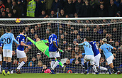 6th February 2019, Goodison Park, Liverpool, England; EPL Premier League Football, Everton versus Manchester City; Aymeric Laporte of Manchester City heads past Everton goalkeeper Jordan Pickford to score the opening goal after 45 minutes 0-1