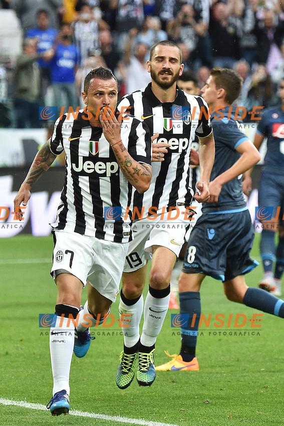 Esultanza Gol Simone Pepe Juventus con Leonardo Bonucci. Goal celebration <br /> Torino 23-05-2015 Juventus Stadium Football Calcio Serie A 2014/2015 Juventus - Napoli . Foto Andrea Staccioli / Insidefoto