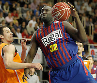 Mad-Croc Fuenlabrada's Sergii Gladyr (l) and FC Barcelona Regal's Nathan Jawai during Liga Endesa ACB match.November 18,2012. (ALTERPHOTOS/Acero) NortePhoto