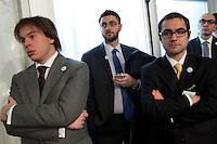 Bergamo: Mario Monti presenta la sua lista Scelta Civica con Monti al kilometro rosso di Bergamo..Nella foto dei giovani seguono l'evento