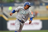 Third baseman Angelo Castellano (1) of the Lexington Legends rounds third base in a game against the Columbia Fireflies on Sunday, April 23, 2017, at Spirit Communications Park in Columbia, South Carolina. Lexington won, 4-2. (Tom Priddy/Four Seam Images)