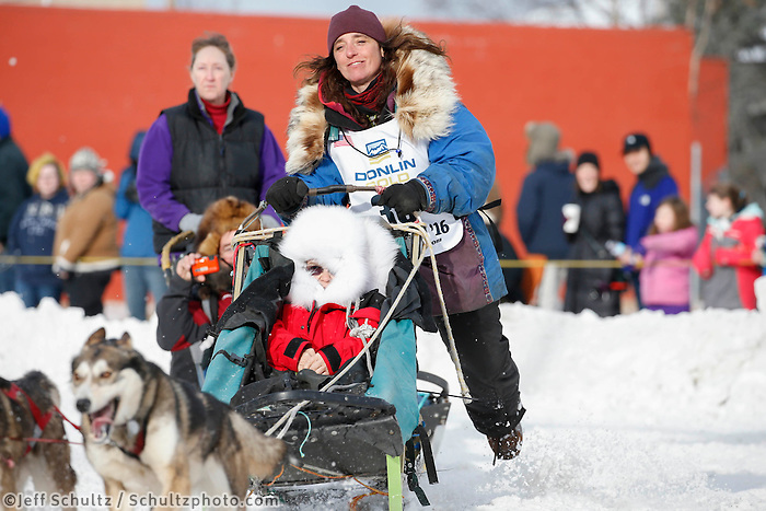 Michelle Phillips during the Ceremonial Start of the 2016 Iditarod in Anchorage, Alaska.  March 05, 2016