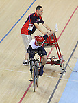 Paralympics London 2012 - ParalympicsGB - Track Cycling at the Velodrome  31st August 2012  .Jody Cundy false starts his Men's Individual C4-5  1km Time Trial and is disqualified at the Paralympic Games in London. Photo: Richard Washbrooke/ParalympicsGB