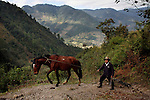 GUATEMALA  --  FEBRUARY 4, 2007:   A farmer walks up a trail towards Nebaj with his horse on February 4, 2007 in Acul, Guatemala.  (PHOTOGRAPH BY MICHAEL NAGLE)