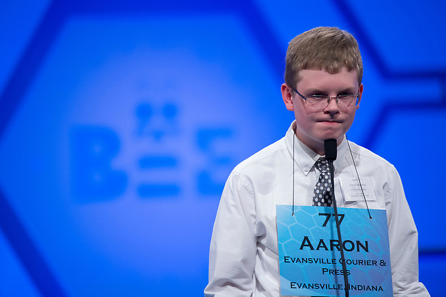 Speller 77 Aaron Michael Manning competes in the preliminary rounds of the Scripps National Spelling Bee at the Gaylord National Resort and Convention Center in National Habor, Md., on Wednesday,  May 30, 2012. Photo by Bill Clark