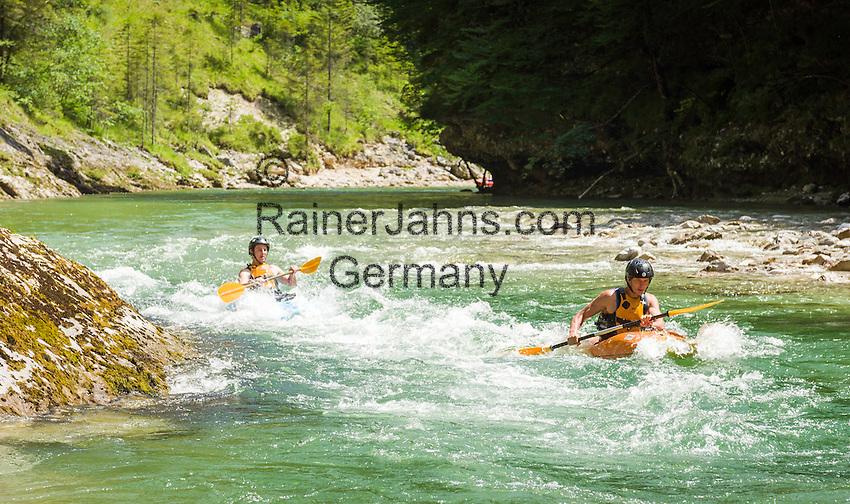 Austria, Styria, Palfau: adventure at SalzaArena - whitewater kayaking on river Salza | Oesterreich, Steiermark, Palfau: Abenteuer in der SalzaArena - Wildwasser-Kajakfahrt auf der Salza