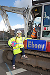 Welsh Water - Ebony Locke from Llansawel Primary School in Briton Ferry who won a competition to name one of the machines working outside her school...11.07.12.©Steve Pope.