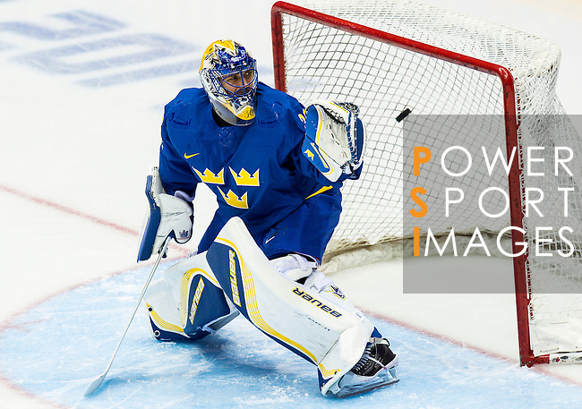 Henrik Lundqvist of Sweden  in action during the match between Sweden vs Czech Republic during their Men's Ice Hockey Preliminary Round Group C game on day five of the 2014 Sochi Olympic Winter Games at Bolshoy Ice Dome on February 12, 2014 in Sochi, Russia. Photo by Victor Fraile / Power Sport Images