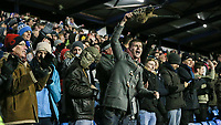 Blackburn Rovers' fans celebrate at the end of the match<br /> <br /> Photographer Andrew Kearns/CameraSport<br /> <br /> The EFL Sky Bet League One - Portsmouth v Blackburn Rovers - Tuesday 13th February 2018 - Fratton Park - Portsmouth<br /> <br /> World Copyright &copy; 2018 CameraSport. All rights reserved. 43 Linden Ave. Countesthorpe. Leicester. England. LE8 5PG - Tel: +44 (0) 116 277 4147 - admin@camerasport.com - www.camerasport.com