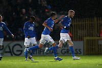 Marcus Maddison of Peterborough United (11) scores the first goal for his team and celebrates during Stevenage vs Peterborough United, Emirates FA Cup Football at the Lamex Stadium on 9th November 2019