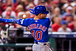 6 October 2017: Chicago Cubs catcher Willson Contreras in action during the first game of the NLDS against the Washington Nationals at Nationals Park in Washington, DC. The Cubs shut out the Nationals 3-0 to take a 1-0 lead in their best of five Postseason series. Mandatory Credit: Ed Wolfstein Photo *** RAW (NEF) Image File Available ***