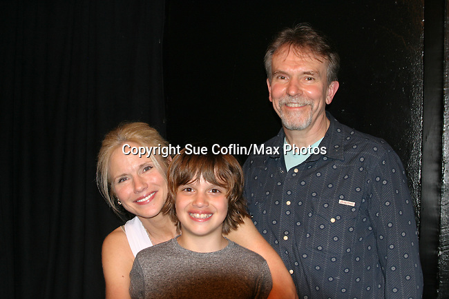 "Beth Chamberlin with son Luke and husband Peter - In the finals  - THEY WIN 1st Place - An Original play ""Breathing Under Dirt on April 2, 2016 at the Manhattan Repertory Theatre, New York City, New York.  (Photo by Sue Coflin/Max Photos)"
