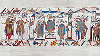 Bayeux Tapestry scene 29 - 30: Harold is proclaimed King then crowned.  BYX29 & BYX30