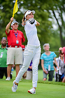 Klara Spilkova (CZE) watches her tee shot on 18 during Friday's round 2 of the 2017 KPMG Women's PGA Championship, at Olympia Fields Country Club, Olympia Fields, Illinois. 6/30/2017.<br /> Picture: Golffile | Ken Murray<br /> <br /> <br /> All photo usage must carry mandatory copyright credit (&copy; Golffile | Ken Murray)