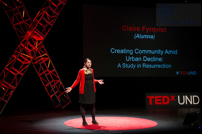 """Jan. 21, 2014; Claire Fyrqvist delivers her talk titled """"Creating Community Amid Urban Decline: A Study in Resurrection,"""" during the TEDxUND 2014 event in the Debartolo Performing Arts Center. Photo by Barbara Johnston/University Photographer"""