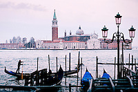 View to the basilica of San Giorgio Maggiore built between 1566 and 1610, from Saint Marks Square, Venice, Italy