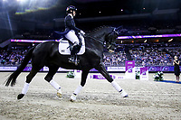 OMAHA, NEBRASKA - APR 1: Judy Reynolds and Vancouver K during the awards ceremony for the FEI World Cup Dressage Final at the CenturyLink Center on March 31, 2017 in Omaha, Nebraska. The pair finished fourth. (Photo by Taylor Pence/Eclipse Sportswire/Getty Images)