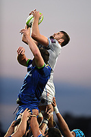 Elliott Stooke of Bath Rugby wins the ball at a lineout. Pre-season friendly match, between Leinster Rugby and Bath Rugby on August 25, 2017 at Donnybrook Stadium in Dublin, Republic of Ireland. Photo by: Patrick Khachfe / Onside Images
