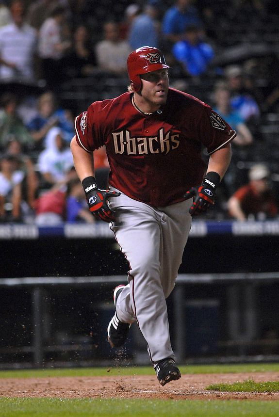 12 August 08: D'backs outfielder Adam Dunn doubles during a game between the Arizona Diamondbacks and the Colorado Rockies at Coors Field in Denver, Colorado. FOR EDITORIAL USE ONLY. FOR EDITORIAL USE ONLY