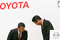 (L to R) Toyota Motor Corporation President Akio Toyoda and Mazda Motor Corporation President and CEO Masamichi Kogai, attend a news conference at the Royal Park Hotel Tokyo on August 4, 2017, Tokyo, Japan. Toyoda and Kogai announced an alliance between the car makers; whereby they will invest in each other and plan to build a joint auto factory in the U.S. and cooperate in new technologies for electric vehicles. (Photo by Rodrigo Reyes Marin/AFLO)