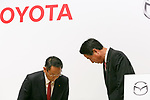 (L to R) Toyota Motor Corporation President Akio Toyoda and Mazda Motor Corporation President and CEO Masamichi Kogai, attend a news conference at the Royal Park Hotel Tokyo on August 4, 2017, Tokyo, Japan. Toyoda and Kogai announced an alliance between the car makers; whereby they will invest in each other and plan to build a joint auto factory in the U.S. and cooperate in new technologies for electric vehicles.(Photo by Rodrigo Reyes Marin/AFLO)