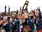 EASTON, MA - NOVEMBER 20:  Mary Spisak (24) of Shippensburg University holds up the trophy as her teammates celebrate after their 2-1 win over LIU Post in the NCAA Division II Field Hockey Championship at WB Mason Stadium on November 20, 2016 in Easton, Massachusetts. (Photo by Winslow Townson/NCAA Photos via Getty Images)