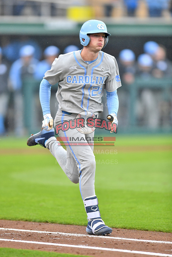 North Carolina Tar Heels designated hitter Jackson Hesterlee (26) runs to first base during a game against the Clemson Tigers at Doug Kingsmore Stadium on March 9, 2019 in Clemson, South Carolina. The Tigers defeated the Tar Heels 3-2 in game one of a double header. (Tony Farlow/Four Seam Images)