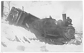 RGS 4-6-0 #25 has derailed into Lightner Creek at edge of Durango.<br /> RGS  West Durango, CO  Taken by Ballough, Monte - 12/31/1919