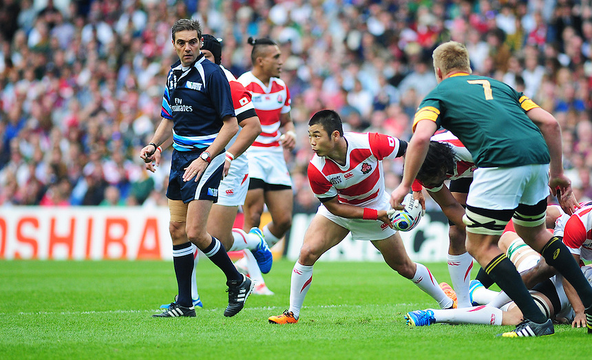 Japan's Fumiaki Tanaka in action during todays match<br /> <br /> Photographer Kevin Barnes/CameraSport<br /> <br /> Rugby Union - 2015 Rugby World Cup - Japan v South Africa - Saturday 19th September 2015 - The American Express Community Stadium - Falmer - Brighton<br /> <br /> &copy; CameraSport - 43 Linden Ave. Countesthorpe. Leicester. England. LE8 5PG - Tel: +44 (0) 116 277 4147 - admin@camerasport.com - www.camerasport.com