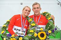 INLINESKATEN: HALLUM: 07-09-2013, KPN Dutch Open Inline 100km, Crispijn Ariëns en Irene Schouten, ©foto Martin de Jong