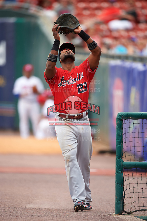 Louisville Bats first baseman Brandon Allen (29) catches a popup in foul territory during a game against the Buffalo Bisons on June 23, 2016 at Coca-Cola Field in Buffalo, New York.  Buffalo defeated Louisville 9-6.  (Mike Janes/Four Seam Images)