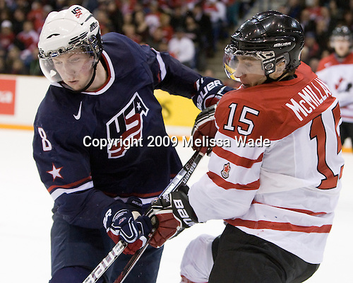 Danny Kristo (USA - 8), Brandon McMillan (Canada - 15) - Team Canada defeated Team USA 5-4 (SO) on Thursday, December 31, 2009, at the Credit Union Centre in Saskatoon, Saskatchewan, during the 2010 World Juniors tournament.
