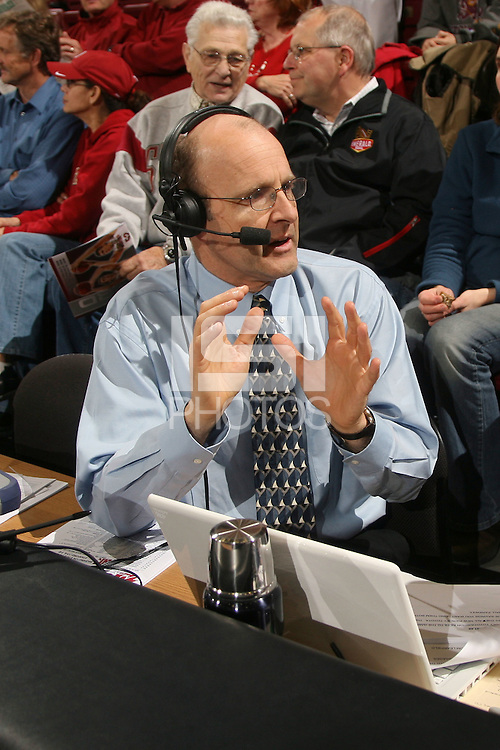 STANFORD, CA - FEBRUARY 5:  Radio announcers John Platz and Dave Fleming for the Stanford Cardinal during Stanford's 65-54 win over the Washington State Cougars on February 5, 2009 at Maples Pavilion in Stanford, California.