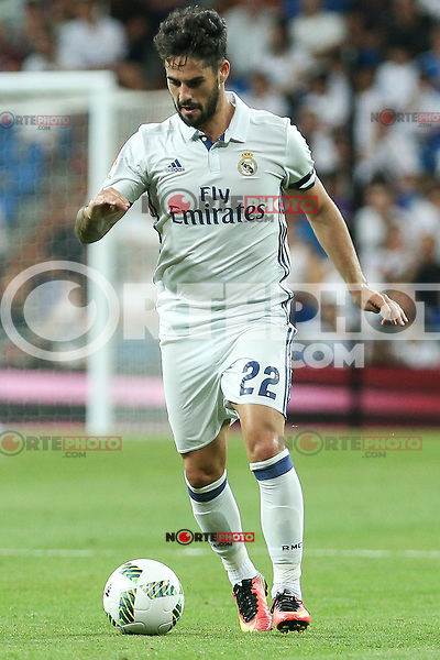 Real Madrid's Isco Alarcon during the XXXVII Bernabeu trophy between Real Madrid and Stade de Reims at the Santiago Bernabeu Stadium. August 15, 2016. (ALTERPHOTOS/Rodrigo Jimenez) /NORTEPHOTO