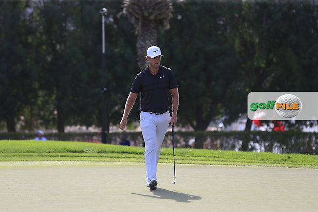 Lucas Bjerregaard (DEN) on the 16th green during Round 4 of the Omega Dubai Desert Classic, Emirates Golf Club, Dubai,  United Arab Emirates. 27/01/2019<br /> Picture: Golffile | Thos Caffrey<br /> <br /> <br /> All photo usage must carry mandatory copyright credit (© Golffile | Thos Caffrey)