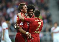 FUSSBALL   1. BUNDESLIGA  SAISON 2012/2013   2. Spieltag FC Bayern Muenchen - VfB Stuttgart      02.09.2012 Mario Mandzukic, Dante, Franck Ribery (v. li., FC Bayern Muenchen)