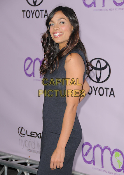 ROSARIO DAWSON.The 18th Annual Environmental Media Awards held at The Ebell Theatre in Los Angeles, California, USA..November 13th, 2008.half length black dress grey gray sleeveless .CAP/DVS.©Debbie VanStory/Capital Pictures.