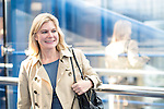 © Joel Goodman - 07973 332324 . 04/10/2016 . Birmingham , UK . JUSTINE GREENING crosses from the conference centre to the hotel on the third day of the Conservative Party Conference at the International Convention Centre in Birmingham . Photo credit : Joel Goodman