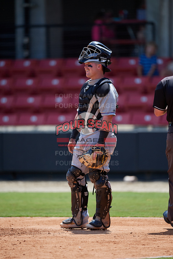 Winston-Salem Dash catcher Evan Skoug (19) during a Carolina League game against the Carolina Mudcats on August 14, 2019 at Five County Stadium in Zebulon, North Carolina.  Winston-Salem defeated Carolina 4-2.  (Mike Janes/Four Seam Images)