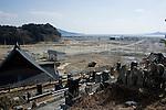 View from Jodo-ji temple over Rikuzentaka, Iwate Prefecture, Japan on 29 Feb. 2012. .Photographer: Robert Gilhooly