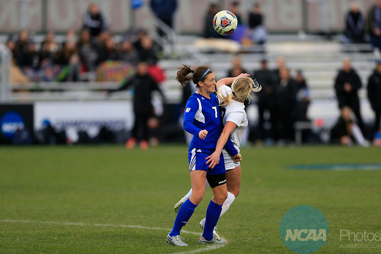 KANSAS CITY, MO - DECEMBER 03:  Mariah Roggow (20) of Western Washington University and Clare Carlson (7) of Grand Valley State University battle for the ball during the Division II Women's Soccer Championship held at Children's Mercy Victory Field at Swope Soccer Village on December 03, 2016 in Kansas City, Missouri. Western Washington University beat Grand Valley State University 3-2 to win the national title.  (Photo by Jack Dempsey/NCAA Photos via Getty Images)