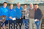 WINNERS: Winners and runners up who were presented with their trophys and the overall winner was presented with the Donal walsh Memorial Swim Cup by Domnic Walsjh (photography who sponsered the swim. L-r: Chris kelly (fastest swimmer), Eileen Curtin (2nd), Domnic Walsh (sponsor) Vicky kelliher (overall winner), PJ Costello (chairman of the swim and Niall O Loingsigh (4th).