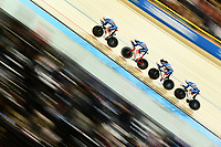 Picture by SWpix.com - 01/03/2018 - Cycling - 2018 UCI Track Cycling World Championships, Day 2 - Omnisport, Apeldoorn, Netherlands - Men's Team Pursuit Finals - Charlie Tanfeild, Ed Clancy, Kian Emadi and Ethan Hayter of Great Britain