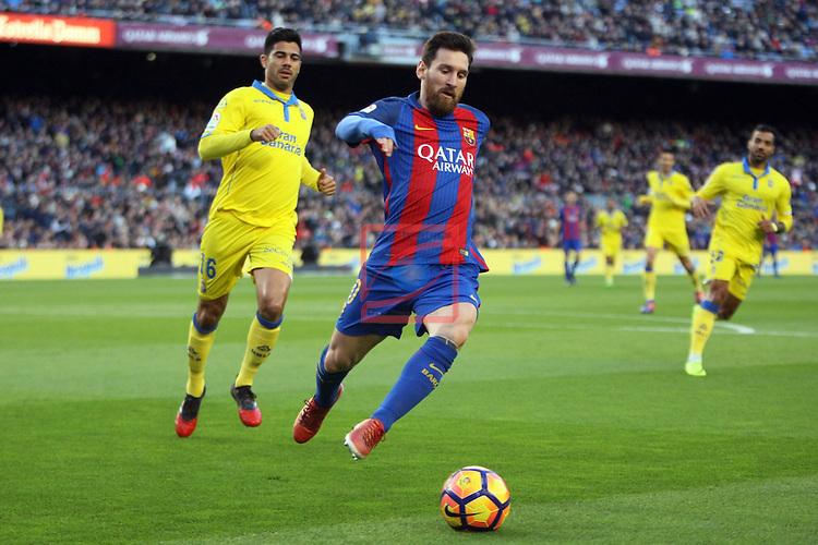 League Santander 2016/2017. Game: 18.<br /> FC Barcelona vs UD Las Palmas: 5-0.<br /> Aythami vs Lionel Messi.