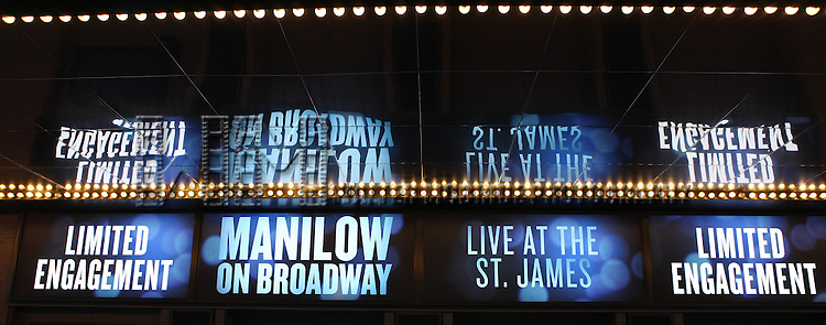 Barry Manilow Theatre Marquee for 'Manilow On Broadway' at the St James Theatre in New York City on 1/8/2012