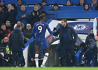 Chelsea Manager, Frank Lampard shakes hands with Tammy Abraham after the Chelsea striker was substituted during Chelsea vs Aston Villa, Premier League Football at Stamford Bridge on 4th December 2019