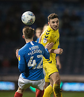 Fleetwood Town's Lewis Coyle (right)  battles with  Portsmouth's Steve Seddon (left) <br /> <br /> Photographer David Horton/CameraSport<br /> <br /> The EFL Sky Bet League One - Portsmouth v Fleetwood Town - Tuesday 10th March 2020 - Fratton Park - Portsmouth<br /> <br /> World Copyright © 2020 CameraSport. All rights reserved. 43 Linden Ave. Countesthorpe. Leicester. England. LE8 5PG - Tel: +44 (0) 116 277 4147 - admin@camerasport.com - www.camerasport.com